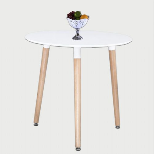 Aspen Round White Painted Table With Wooden Legs